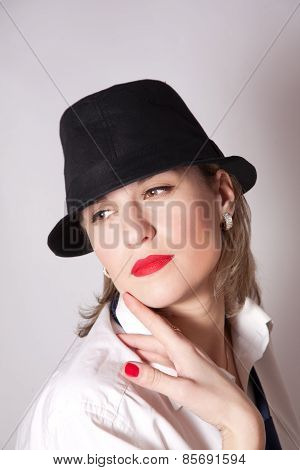 Beautiful Woman Dressing In Men's Clothing