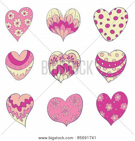 set of different isolated pink vector hearts