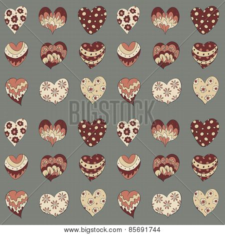 hand draw hearts seamless pattern