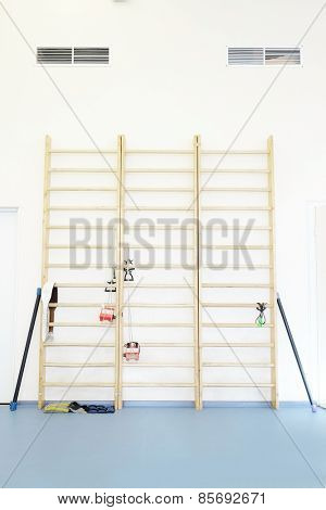 Wall bars in the gymnastic hall