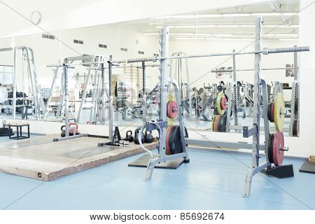 Interior of a fitness hall with fitness equipment