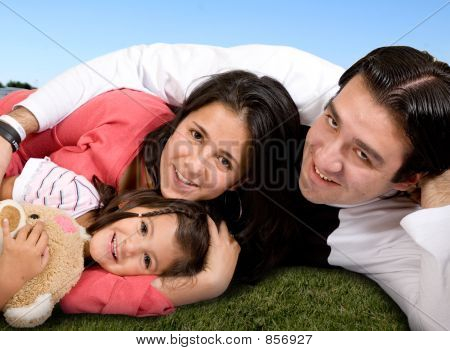 beautiful family in the park