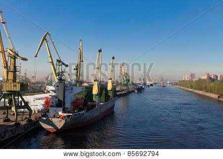 The Vessels In Port Standing On Unloading