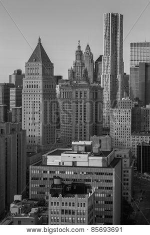 USA, NEW YORK CITY - April 27, 2012 New York City Manhattan skyline aerial view