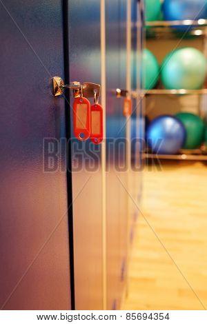 Locker room doors with keys