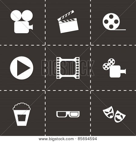 Vector black cinema icon set