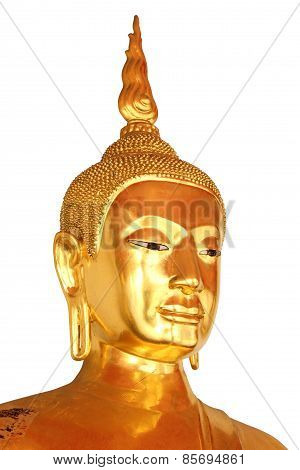 Face Closeup Buddha Statue Isolated On White Background