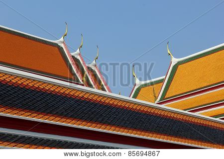 The Different Colors On The Church Roof In Wat Pho.
