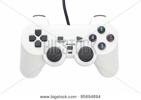 White Vibration Game Controller Isolated On White Background