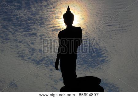 The Graceful Statue Of The Shakyamuni At Phutthamonthon In Silhouette Style