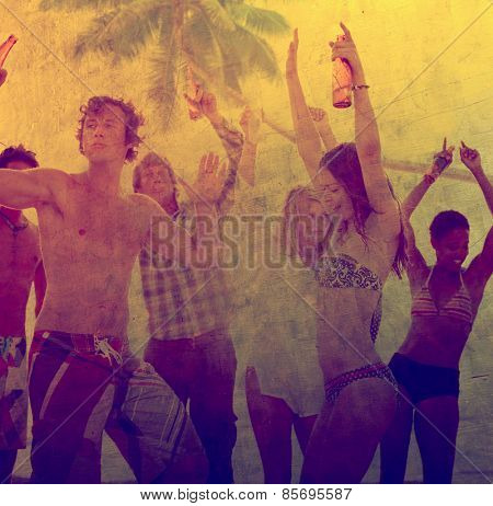 Young Adult Party Alcohol Fun Freedom Beach Summer Concept