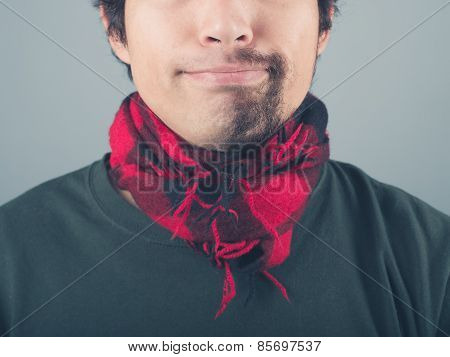 Man With Half Shaved Beard Wearing Scarf