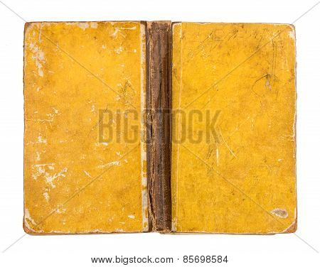 Vintage Grungy Yellow Book Cover Isolated On White Background
