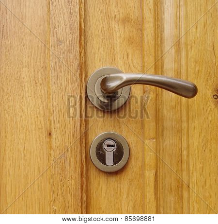 New Wooden Door With Handle And Lock