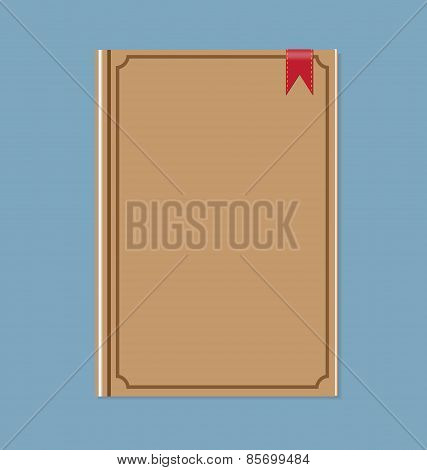 Closed Brown Book With Red Ribbon Bookmark Vector Illustration