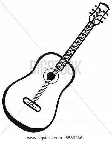 Silhouette of beautiful guitar
