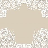 stock photo of lace  - White flower frame - JPG
