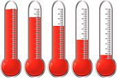 stock photo of thermometer  - Set of thermometers with different levels of indicator fluid - JPG