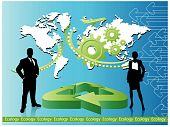 stock photo of sustainable development  - business people with world map and arrows - JPG
