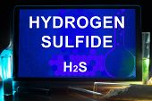 picture of hydrogen  - Tablet with chemical formula of hydrogen sulfide  - JPG