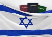 picture of israeli flag  - Israeli flag and three passports in different colors - JPG