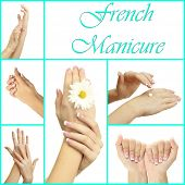 picture of french manicure  - Hands with french manicure isolated on white in collage - JPG