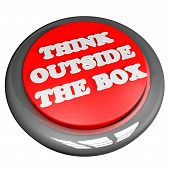 foto of thinking outside box  - Think outside the box button isolated over white 3d render - JPG