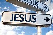 pic of jesus sign  - Jesus direction sign on sky background - JPG