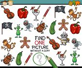 foto of brain-teaser  - Cartoon Illustration of Finding Single Picture without Copy Educational Game for Preschool Children - JPG