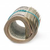 picture of 100 dollars dollar bill american paper money cash stack  - Roll of money - JPG