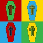 picture of coffin  - Pop art coffin symbol icons - JPG