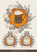 pic of tapping  - set of emblem for beers on tap with a wooden barrel and mug - JPG