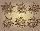 stock photo of mehendi  - Vector print of six ornamental suns with a lot of details - JPG