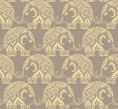 picture of indian elephant  - Clear seamless texture with stylized patterned elephants in Indian style - JPG
