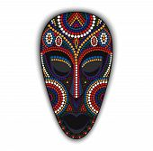 picture of african mask  - Vector colorful ethnic african mask with many dots - JPG