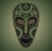 foto of african mask  - Vector colorful ethnic african mask with color dots - JPG