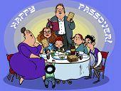 stock photo of matzah  - Happy jewish family selebrated Pesah seder - JPG
