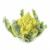 stock photo of romanesco  - Fresh and raw romanesco broccoli vegetable isolated on white background - JPG