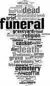 foto of urn funeral  - Funeral word cloud concept - JPG