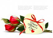 stock photo of happy day  - Two red roses with a heart - JPG