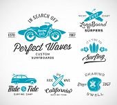 stock photo of motorcycle  - Vector Retro Style Surfing Labels - JPG