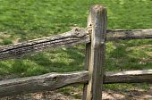image of split rail fence  - A portion of a split rail fence which surrounds a yard in a large city - JPG