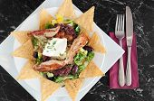 image of nachos  - Healthy and nutritious meal of Mexican nachos with grilled chicken fillets - JPG