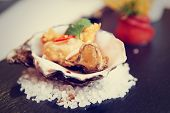 pic of oyster shell  - Tempura fried oyster in shell - JPG