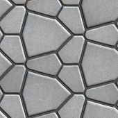 foto of slab  - Gray Paving Slabs in the Form of Polygons Different Size - JPG