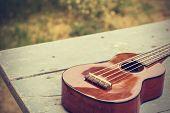 pic of ukulele  - Ukulele processed in vintage style - JPG