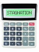 image of stagnation  - Calculator with STAGNATION on display isolated on white background - JPG