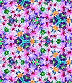 picture of jungle flowers  - Seamless kaleidoscopic pattern with tropical flowers - JPG