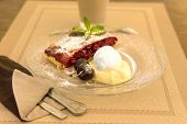 picture of custard  - Cherry strudel with vanilla ice - JPG