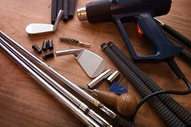 stock photo of stiff  - Golf club making or club assembly - JPG